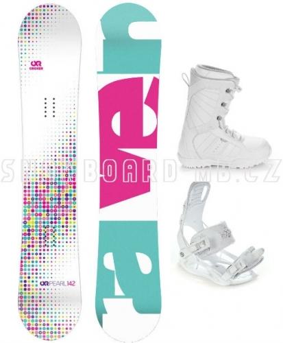 Dívčí snowboardový set včetně bot Raven Pearl white - AKCE1